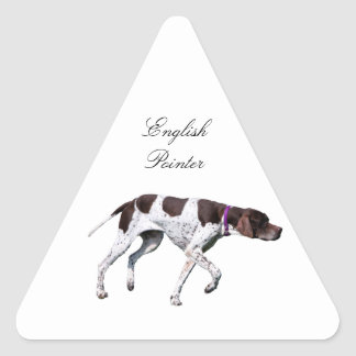 English Pointer dog beautiful photo, gift Triangle Sticker