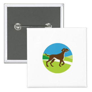 English Pointer Dog Pointing Up Circle Retro 15 Cm Square Badge