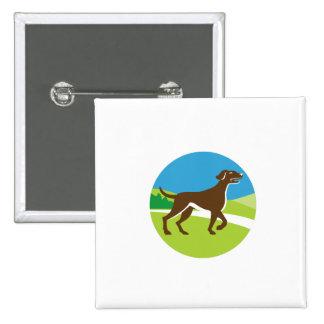 English Pointer Dog Pointing Up Circle Retro 15 Cm Square Badge