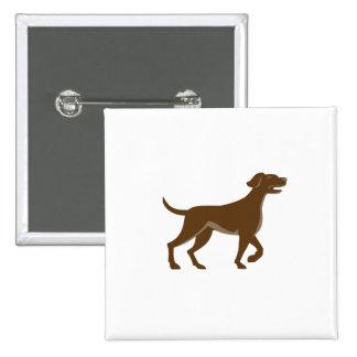 English Pointer Dog Pointing Up Retro 15 Cm Square Badge