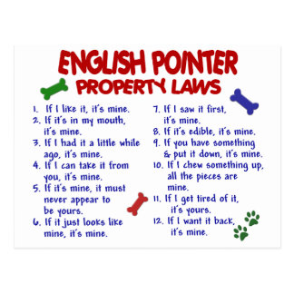 ENGLISH POINTER Property Laws 2 Postcard