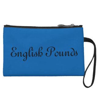 English Pounds wristlet, Blue Wristlet