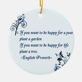 English proverb Double-Sided ceramic round christmas ornament