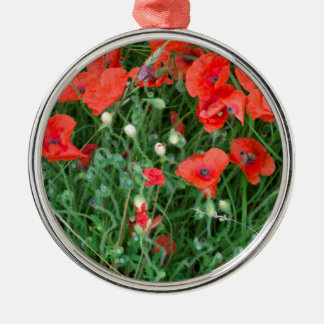 English red poppys christmas ornament