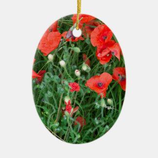 English red poppys christmas ornament