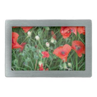 English red poppys rectangular belt buckle