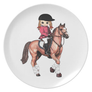 English Riding Girl and Horse Dinner Plates