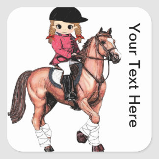 English Riding Girl and Horse Square Sticker