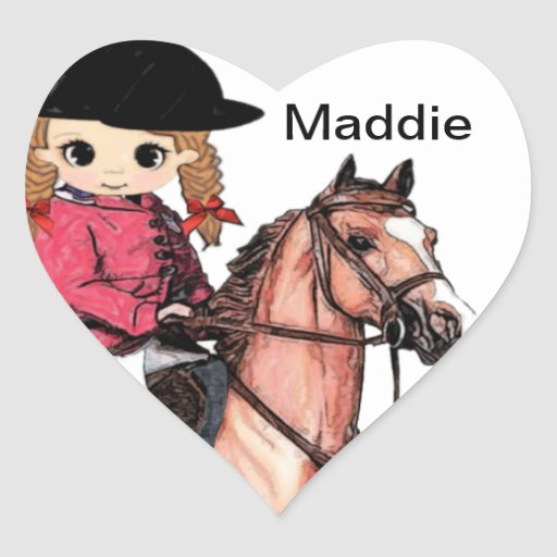 English Riding Girl and Horse Heart Sticker