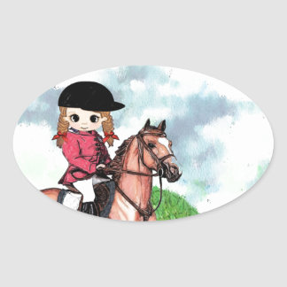 English Riding Girl Oval Sticker