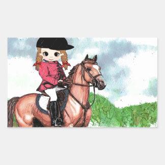 English Riding Girl Rectangular Sticker