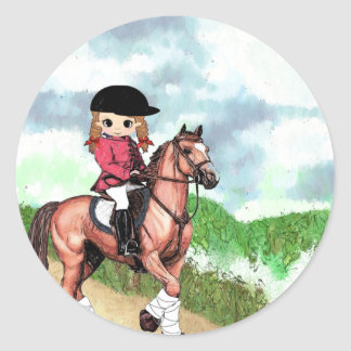 English Riding Girl Round Sticker