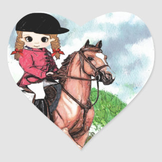 English Riding Girl Heart Stickers