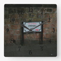 English Road Sign personalised Square Wall Clock