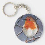 ENGLISH ROBIN IN SNOW: OIL PASTEL ART BASIC ROUND BUTTON KEY RING