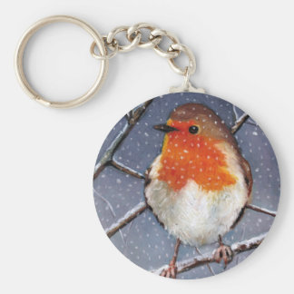 ENGLISH ROBIN IN SNOW: OIL PASTEL ART KEY RING