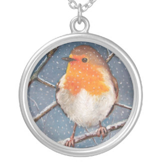 ENGLISH ROBIN IN SNOW: OIL PASTEL ART: NECKLACE