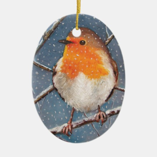 ENGLISH ROBIN IN SNOW: ORNAMENT