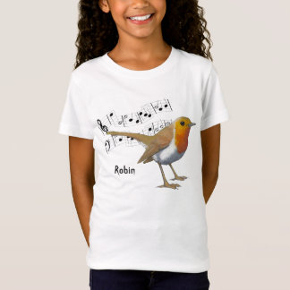 English Robin, Oil Pastel: Art: Bird, Music T-Shirt