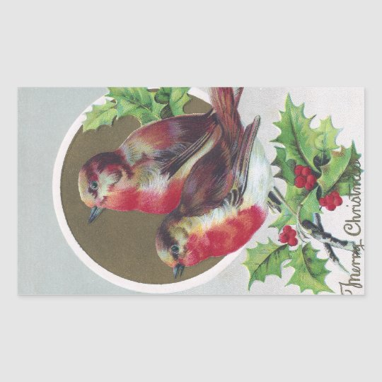 English Robins and Holly Vintage Christmas Rectangular Sticker