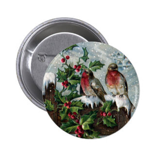 English Robins on a Fence Antique Christmas 6 Cm Round Badge