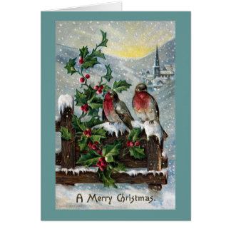 English Robins on a Fence Antique Christmas Greeting Card