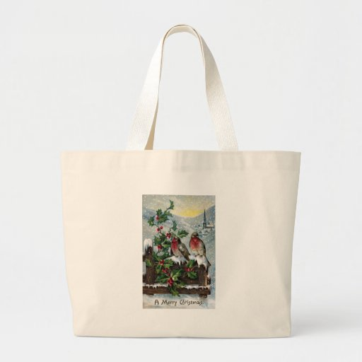 English Robins on a Fence Antique Christmas Canvas Bags