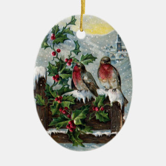 English Robins on a Fence Vintage Christmas Christmas Ornament