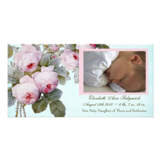English Rose Birth Announcement for Baby Girl Customized Photo Card