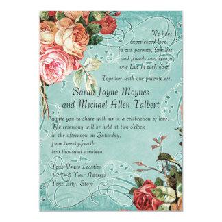 English Rose Bouquet, Vintage n Modern Swirl Leaf 13 Cm X 18 Cm Invitation Card