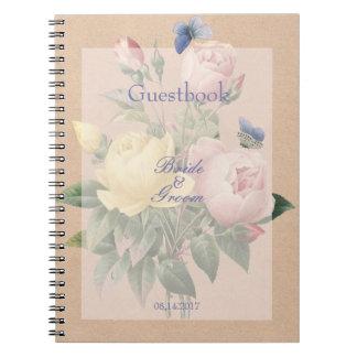English Rose Butterfly Garden Wedding guest book