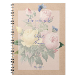 English Rose Butterfly Garden Wedding guest book Spiral Note Books