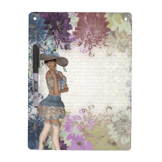 English rose romantic girl dry erase board