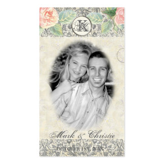 English Rose & Silver Wedding Favor Gift Tags Business Card