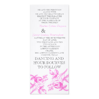 English Roses in pink Wedding Initation 10 Cm X 24 Cm Invitation Card