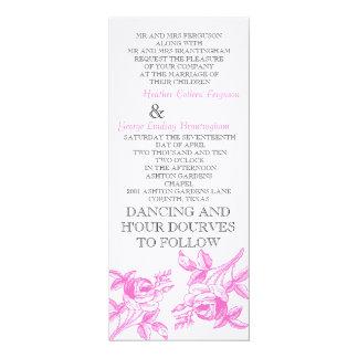 English Roses in pink Wedding Initation 10 Cm X 24 Cm Invitation Card