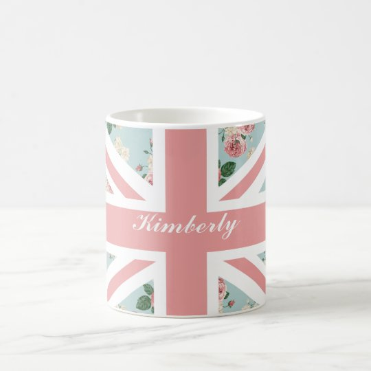 English Roses Union Jack Flag Coffee Mug