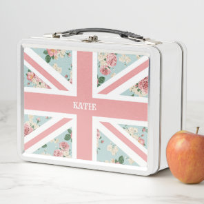 English Roses Union Jack Flag Metal Lunch Box