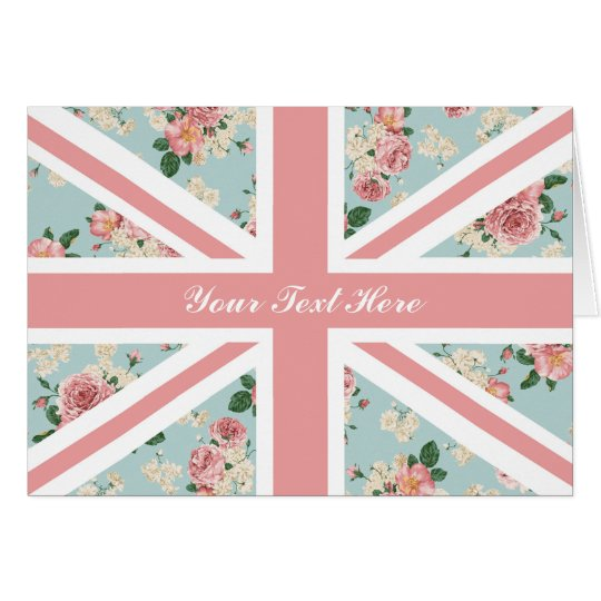 English Roses Union Jack Floral Pattern Card