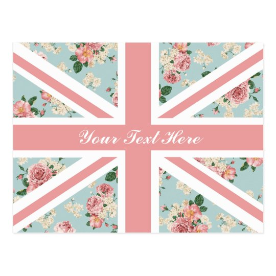 English Roses Union Jack Floral Pattern Custom Postcard