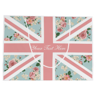 English Roses Union Jack Floral Pattern Large Gift Bag