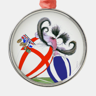 english rugby ball, tony fernandes Silver-Colored round decoration