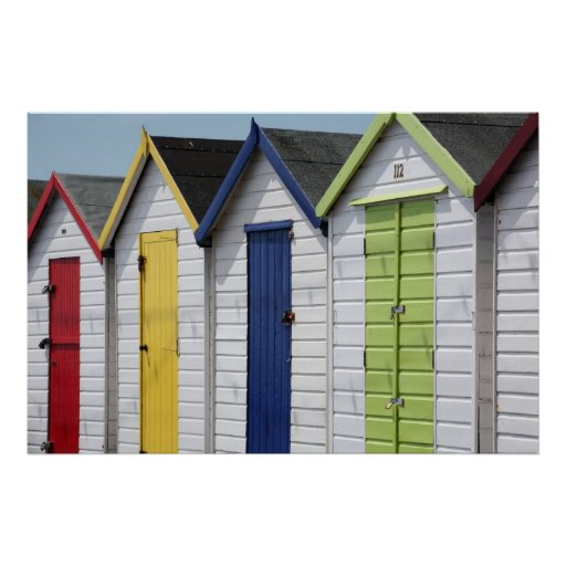 English Seaside Beach Huts Poster