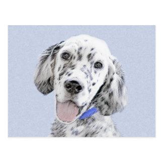 English Setter Blue Belton Painting Dog Art Postcard