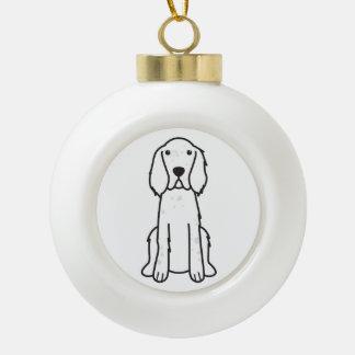 English Setter Dog Cartoon Ceramic Ball Christmas Ornament