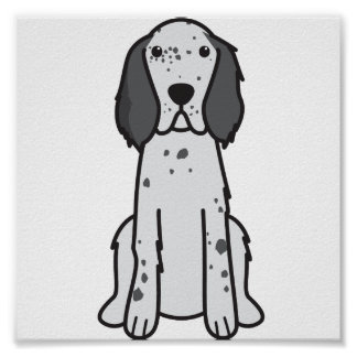English Setter Dog Cartoon Poster