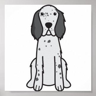 English Setter Dog Cartoon Poster