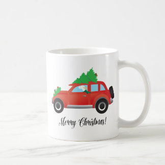 English Setter Dog Driving a Car - Tree on Top Coffee Mug