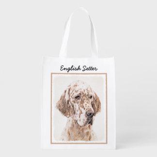 English Setter Orange Belton Painting Dog Art Reusable Grocery Bag