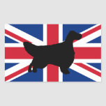 english setter silhouette flag rectangle stickers